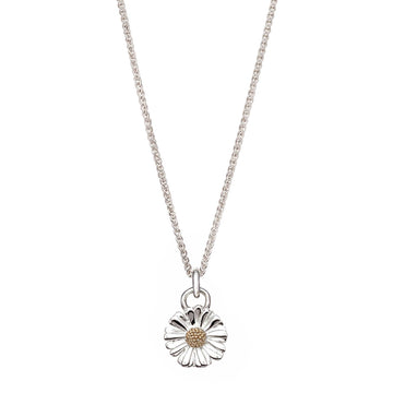 Daisy flower silver and gold necklace RHS chelsea flower show scarlett jewellery