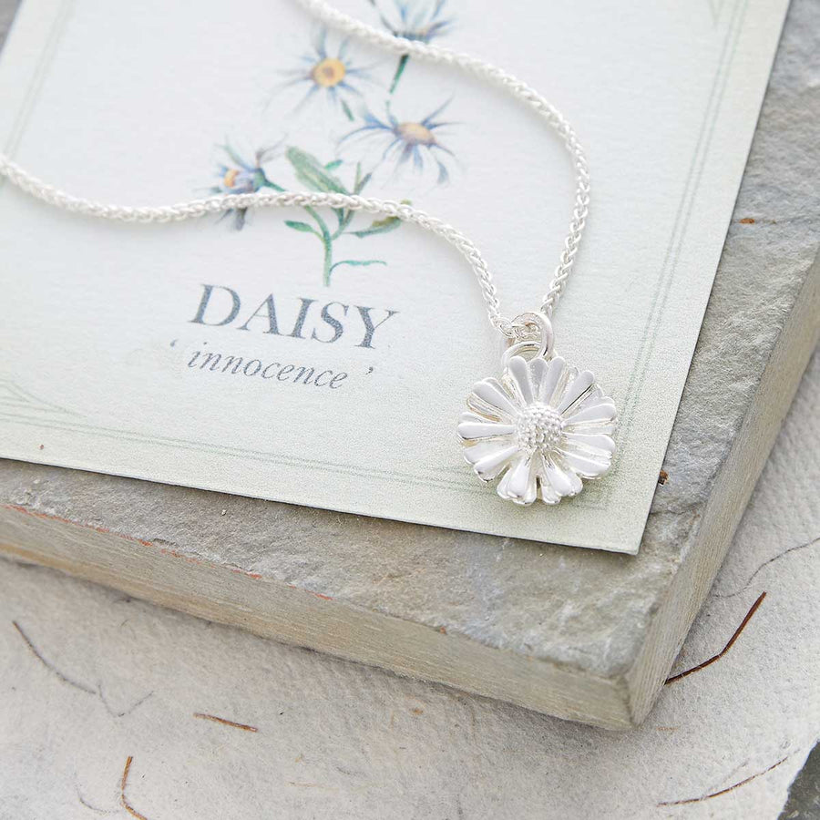 Daisy flower silver necklace RHS chelsea flower show scarlett jewellery