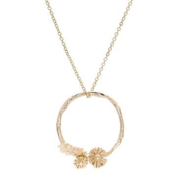 Solid gold daisy wreath necklace handmade pendant RHS Chelsea Flower Show Scarlett Jewellery
