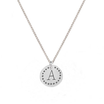 initial silver necklace with fun dotty border gift for teen girl pendant sterling silver personalised