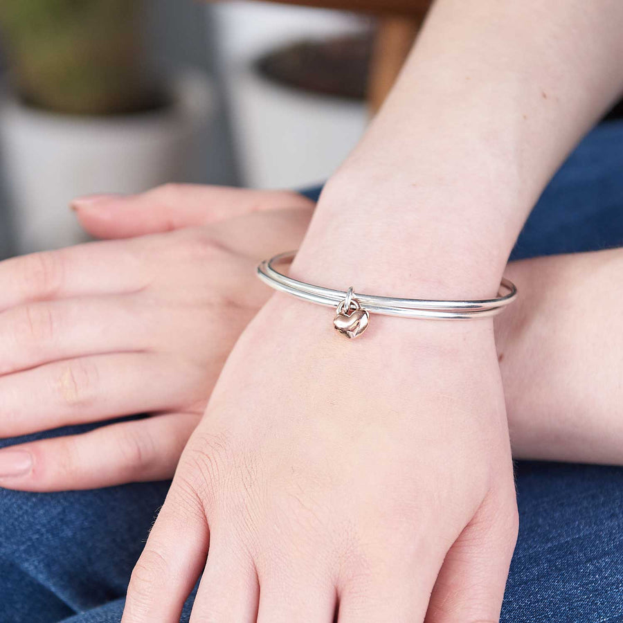 One Love silver and Rose gold double bangle with heart Scarlett Jewellery