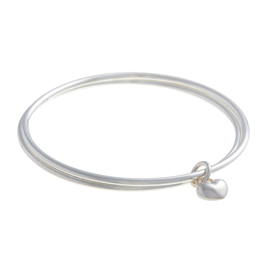 Designer double silver bangle with heart anniversary gift for women Scarlett jewellery