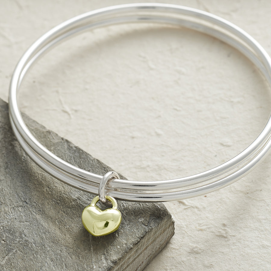 One Love silver and gold double bangle with heart Scarlett Jewellery
