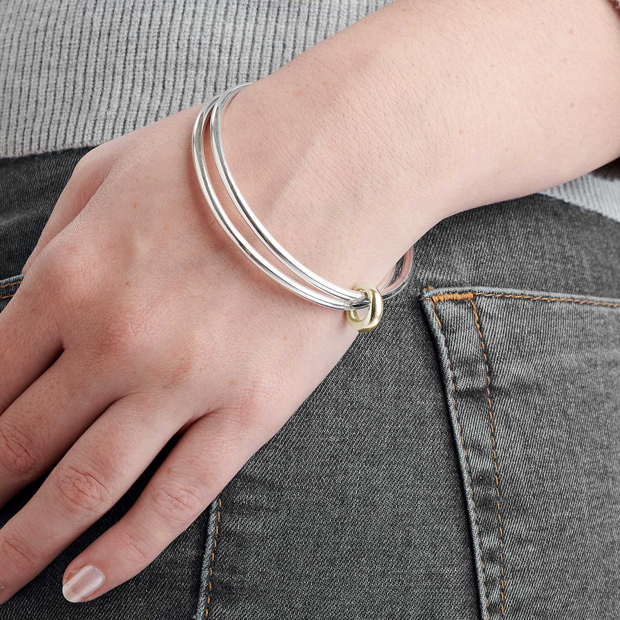 Eclipse Silver & Gold Double Bangle Scarlett Jewellery designer bangles