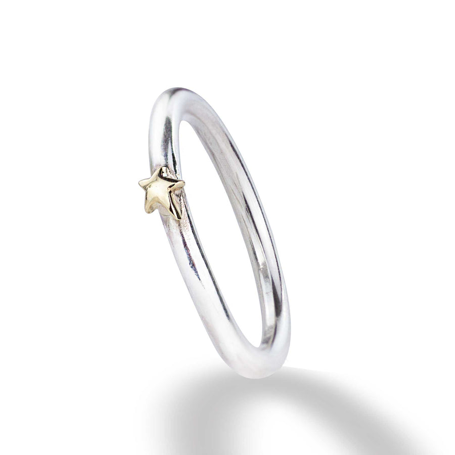 Everyday silver stacking ring with solid gold star scarlett jewellery
