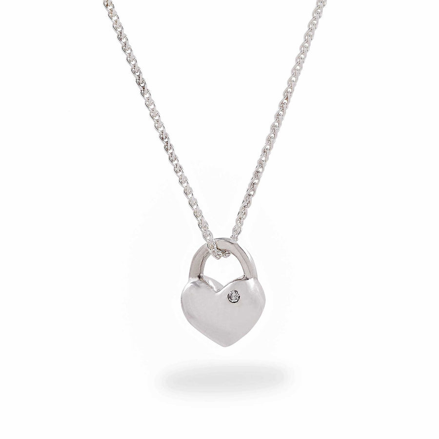 silver heart necklace with diamond scarlett jewellery Brighton