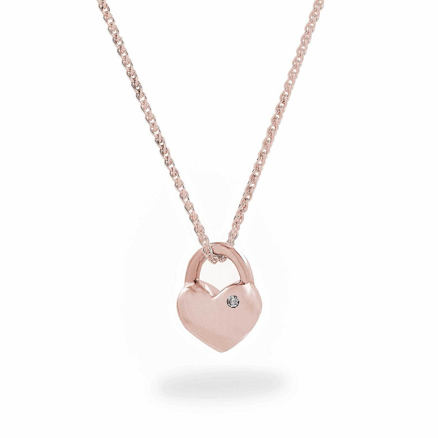 Rose gold heart necklace with diamond scarlett jewellery