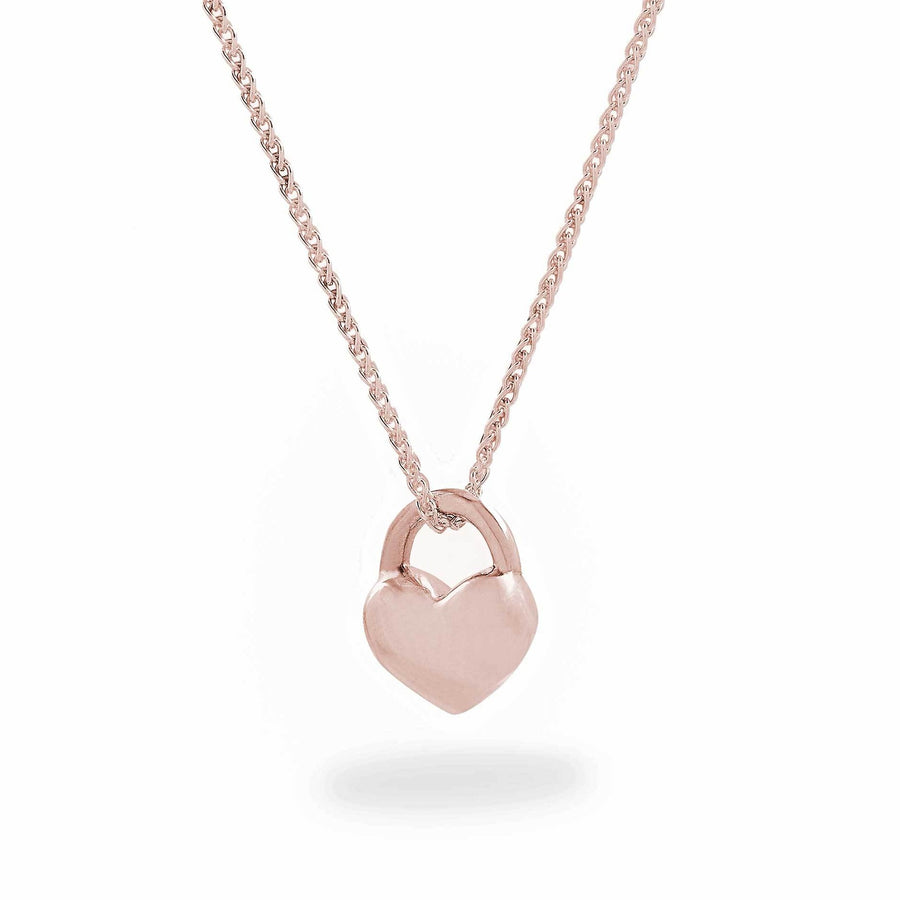chunky solid rose gold heart necklace scarlett jewellery