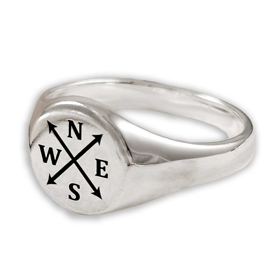 personalised mans initials silver signet ring arrow symbol