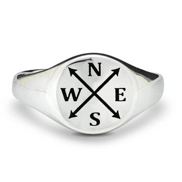 personalised silver Mens Signet Ring with intials and arrows nesw