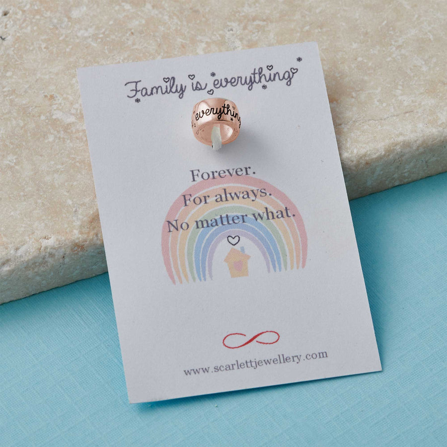 family is everything rose gold charm bead