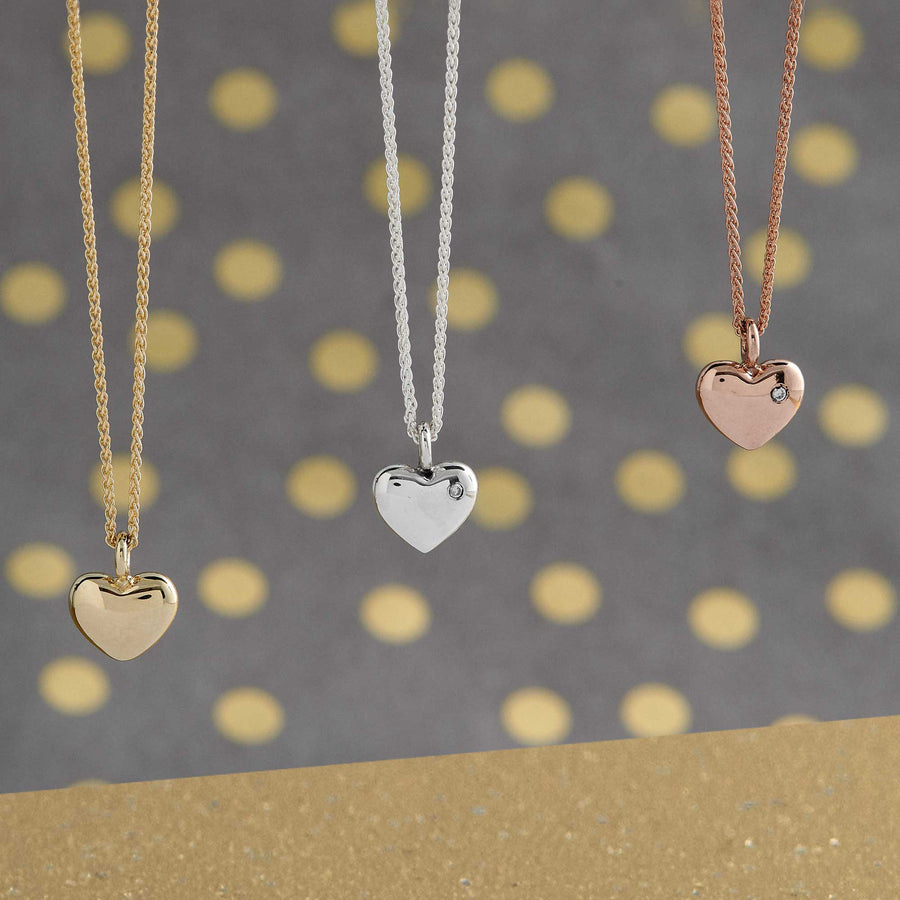 solid rose gold heart necklace with single diamond scarlett jewelery brighton uk