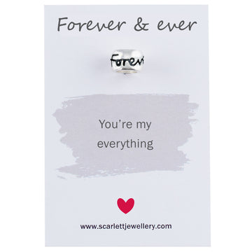 Forever and ever silver engraved charm bead Scarlett Jewellery