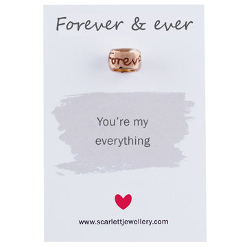 Rose Gold Engraved Charm Bead Forever & Ever Fits Pandora