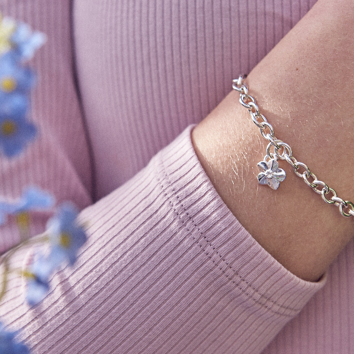 Forget Me Not Flower Silver Chain Charm Bracelet