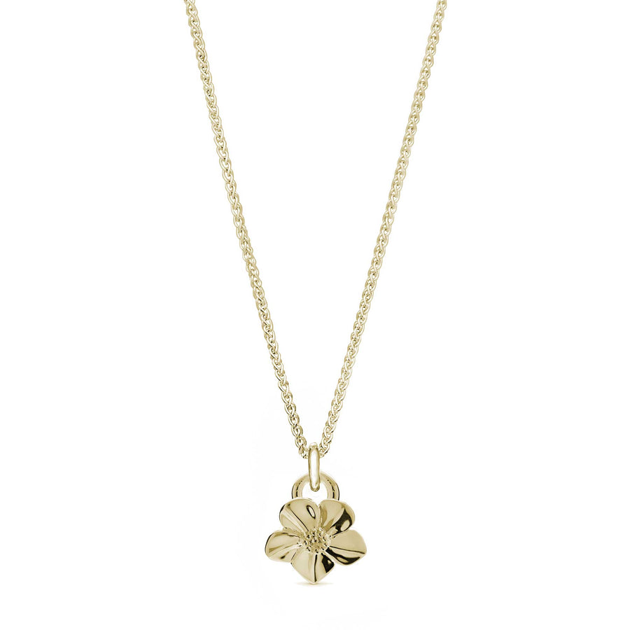 Solid gold forget-me-not flower necklace on gold chain designer Scarlett Jewellery Chelsea Flower Show