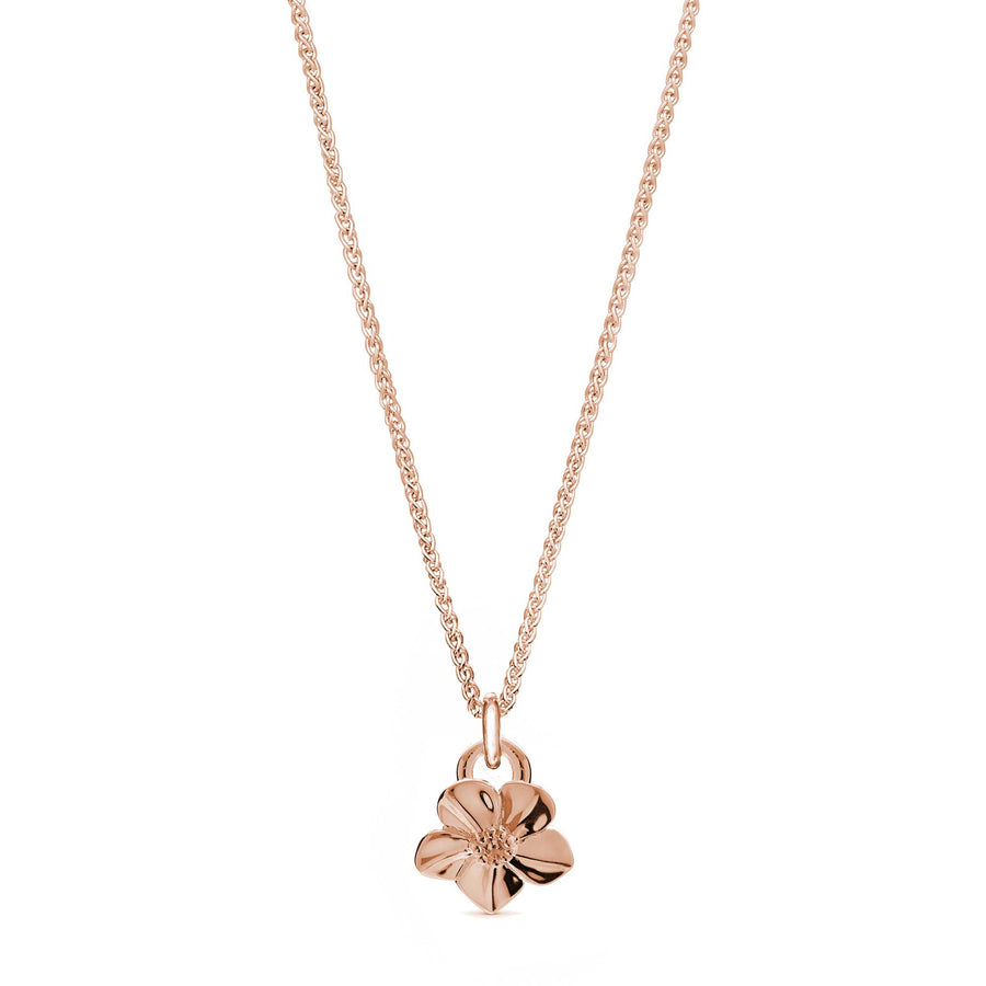 Solid rose gold forget me not flower necklace Scarlett Jewellery
