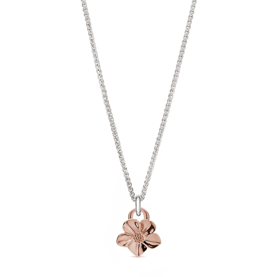 Solid rose gold forget-me-not flower necklace on silver chain designer Scarlett Jewellery Chelsea Flower Show