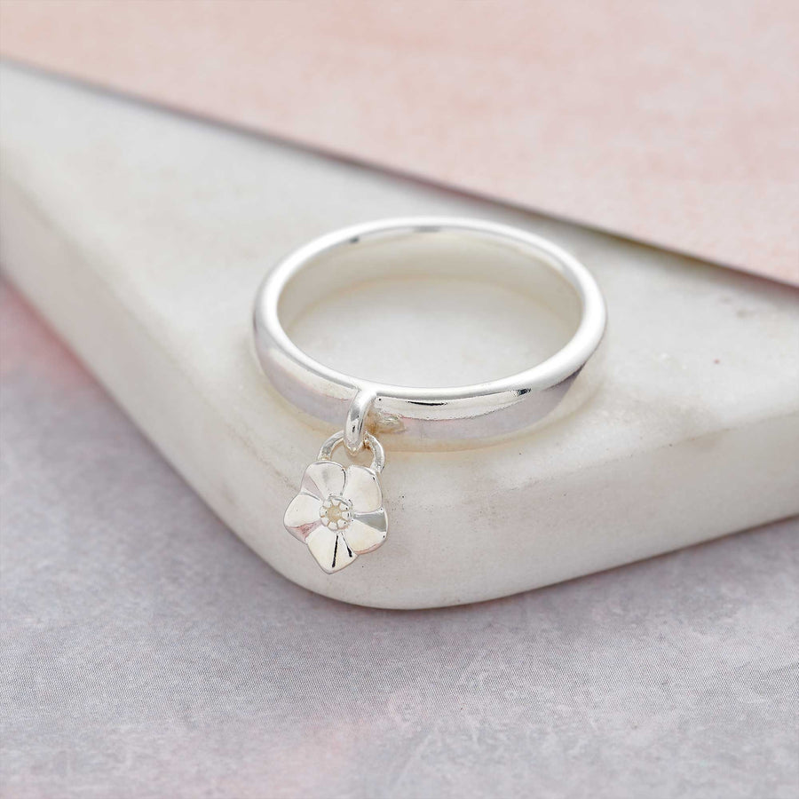 Solid silver forget me not flower charm ring scarlett jewellery