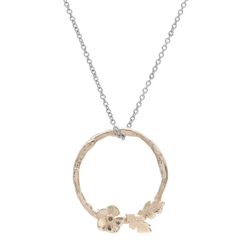 Forget me not wreath silver and gold necklace flower pendant RHS Chelsea Flower Show