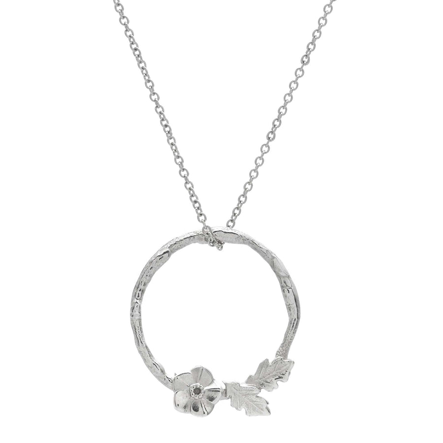 Forget me not wreath silver necklace flower pendant RHS Chelsea Flower Show