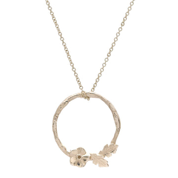 Forget me not wreath solid gold necklace flower pendant RHS Chelsea Flower Show