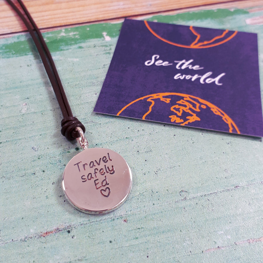 travel Safe Necklace for men globe alternative saint christopher gift from Off The Map Brighton