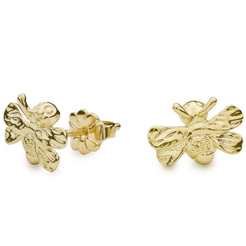 solid gold Bumble Bee stud earrings from award winning designer Scarlett Jewellery
