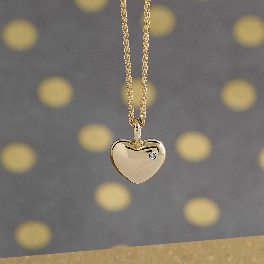solid gold heart necklace with single diamond scarlett jewelery brighton uk