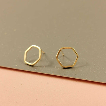 Hexagon Outline Gold Stud Earrings