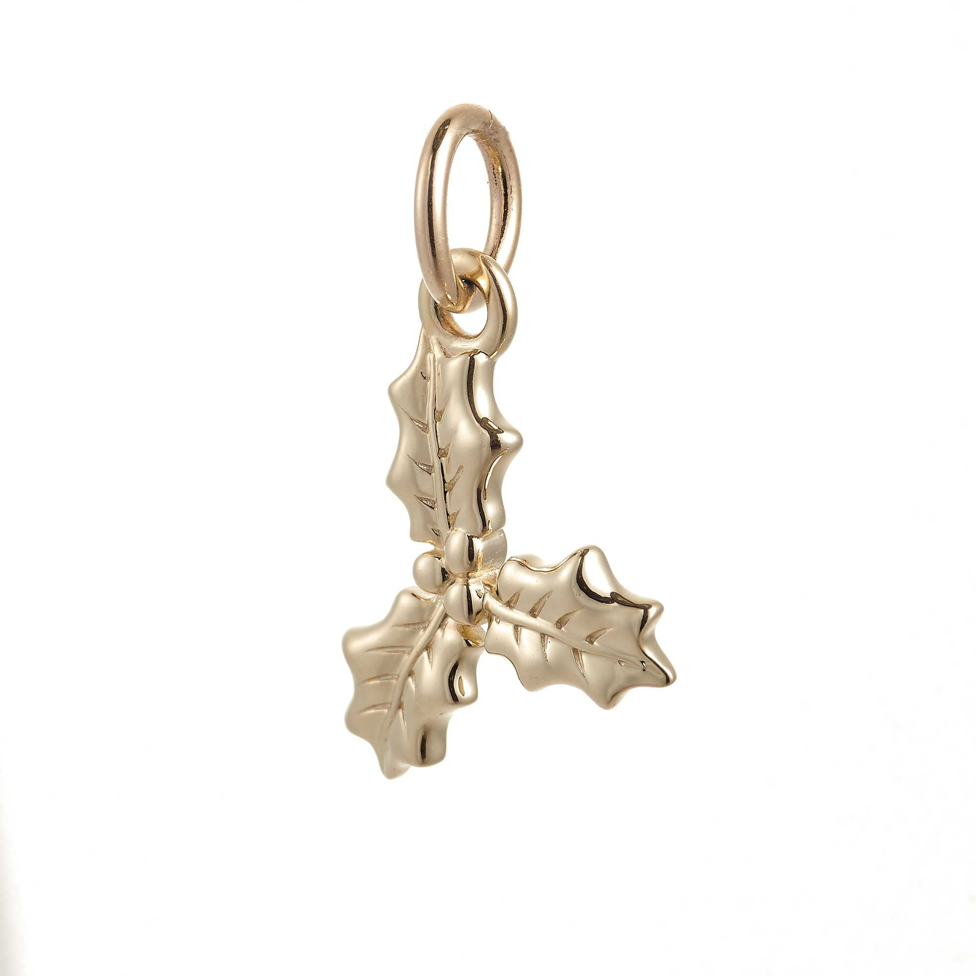 Holly Leaf Solid Gold Charm
