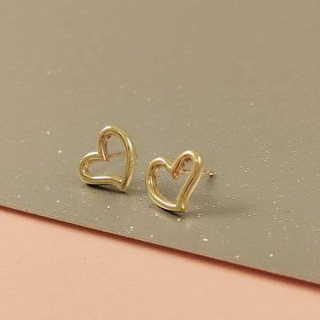 Open Heart Outline Gold Stud Earrings