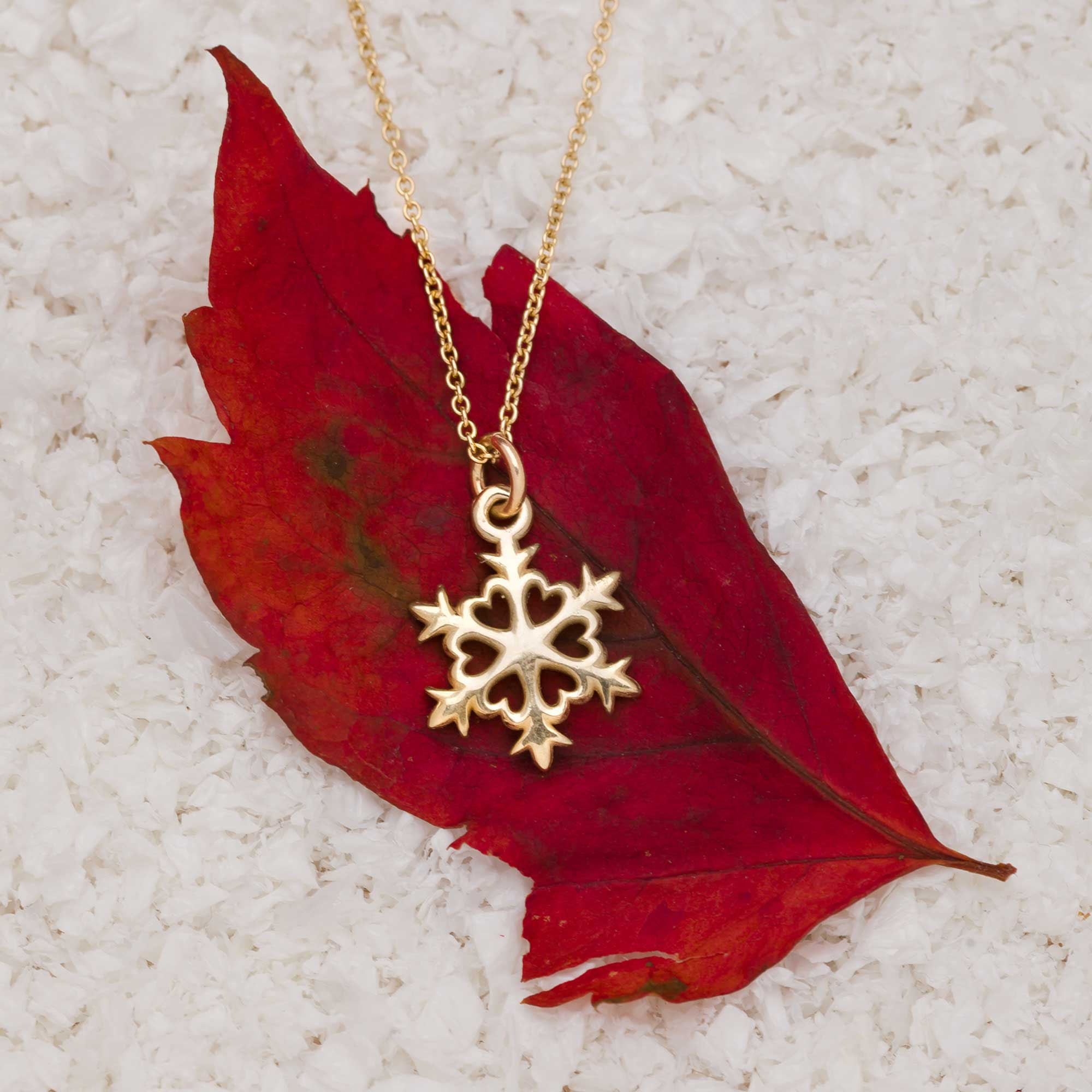Snowflake Solid Gold Charm