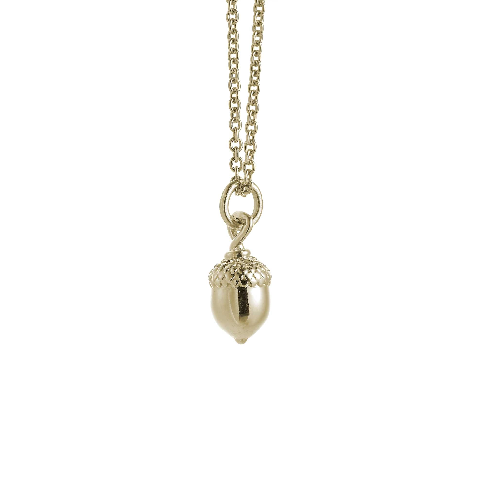Little Acorn Solid Gold Necklace