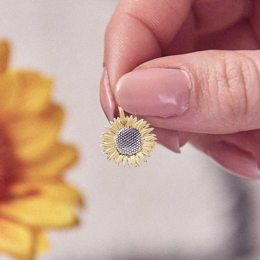 gold plated vermeil silver sunflower charm