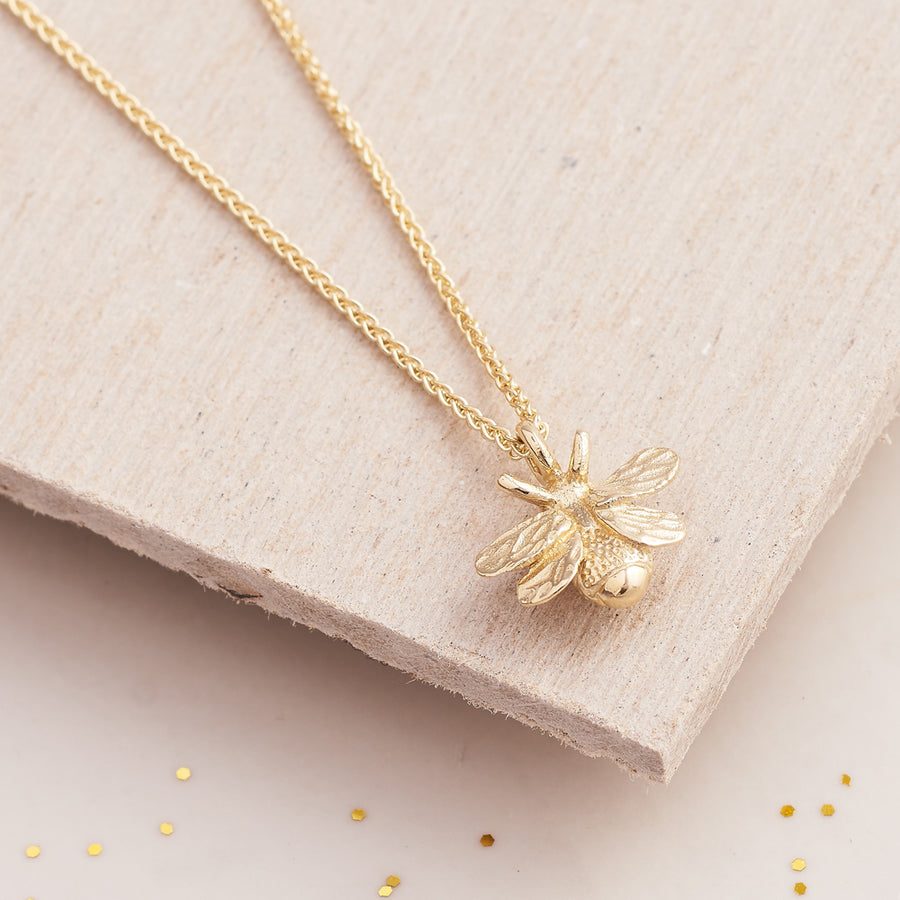 Solid gold bumble bee necklace recycled gold made in UK Scarlett Jewellery