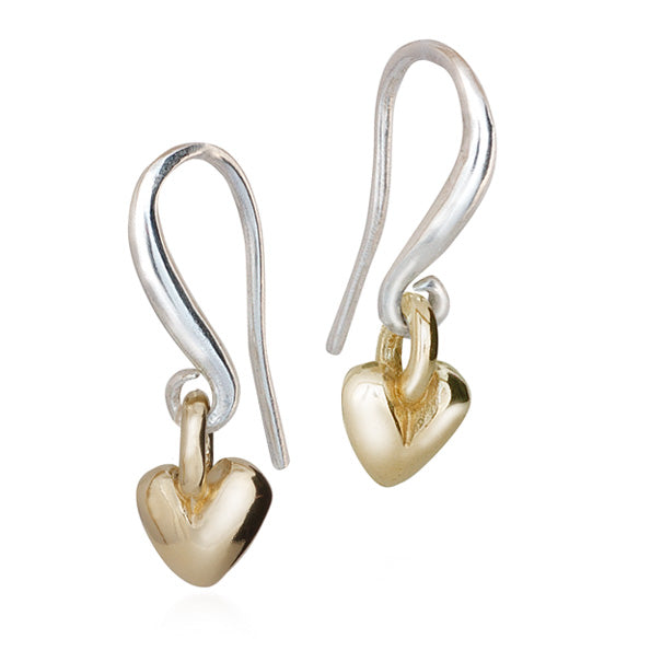 Solid Gold And Silver Sweetheart Ear Wires