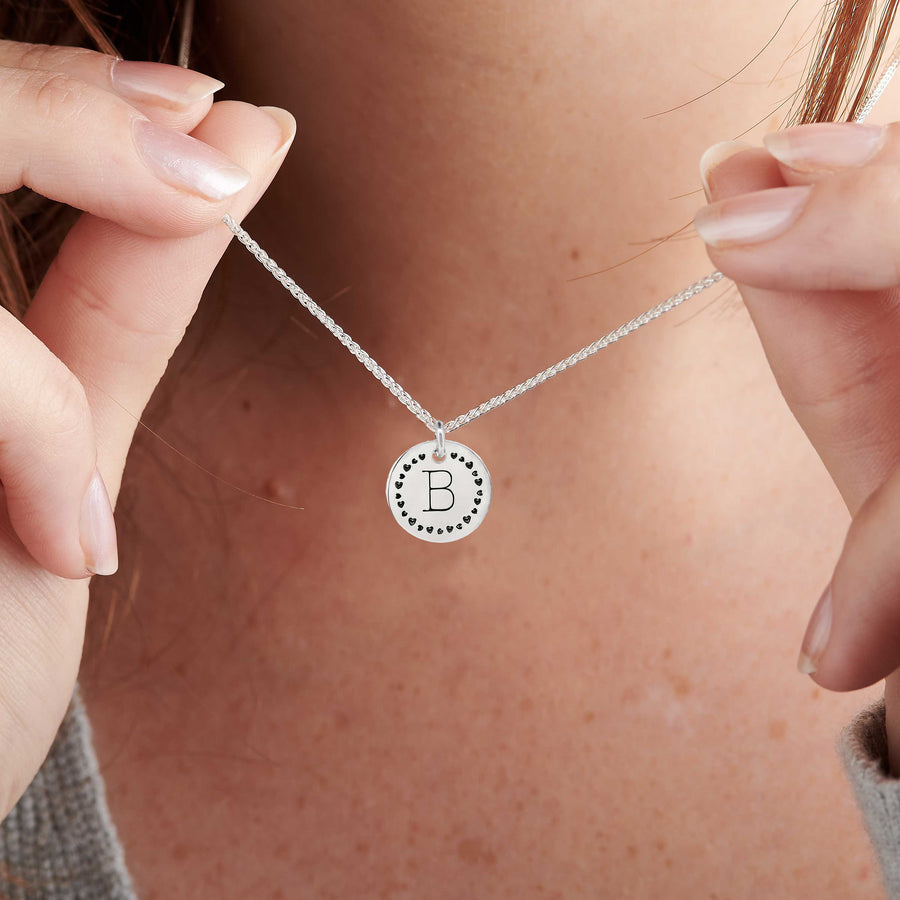 initial silver necklace with fun heart border gift for teen girl pendant sterling silver personalised