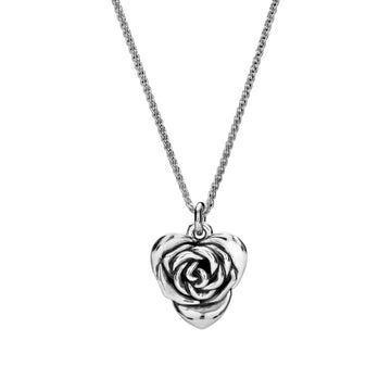 Heart Shaped Rose Sterling Silver Necklace RHS Chelsea Flower Show Scarlett Jewellery