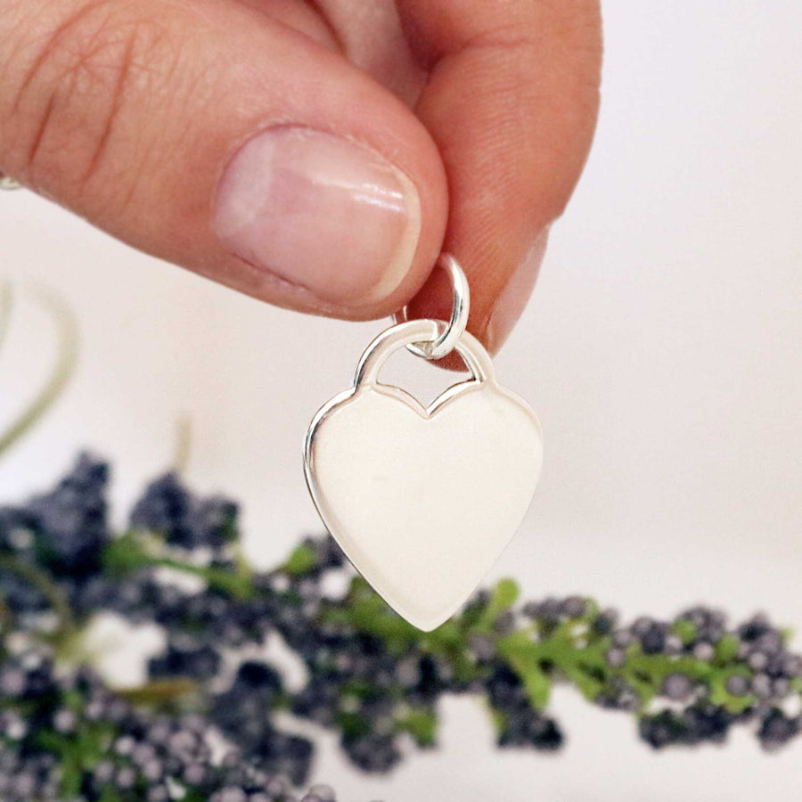 Heart Tag Personalised Silver Charm