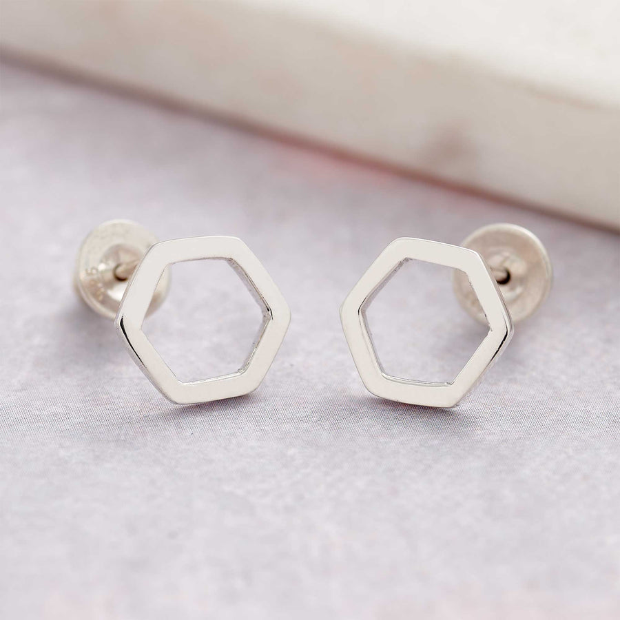 hexagon honey comb silver stud earrings handmade in UK Scarlett Jewellery