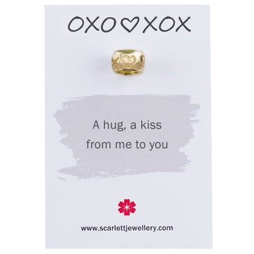 Hugs and kisses OXO XOX solid recycled gold bead charm Scarlett Jewellery