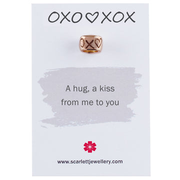 Eco friendly recycled rose gold hugs and kisses engraved charm bead Scarlett Jewellery