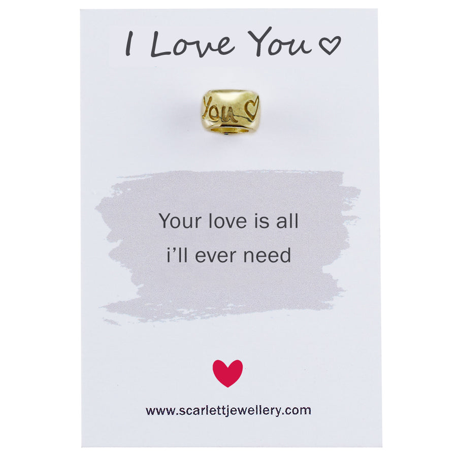 I love you engraved solid gold bead charm Scarlett Jewellery