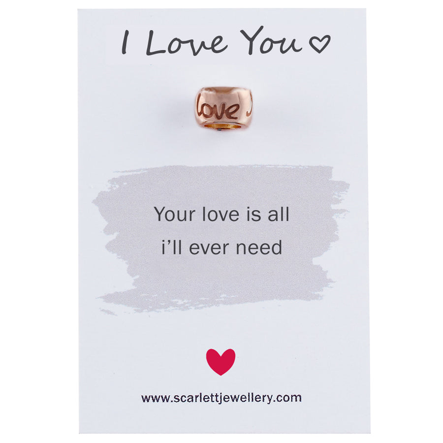 I Love You Solid Rose Gold pink gold bead charm Scarlett Jewellery