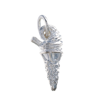 Ice Cream Cone Sterling Silver Bracelet Charm