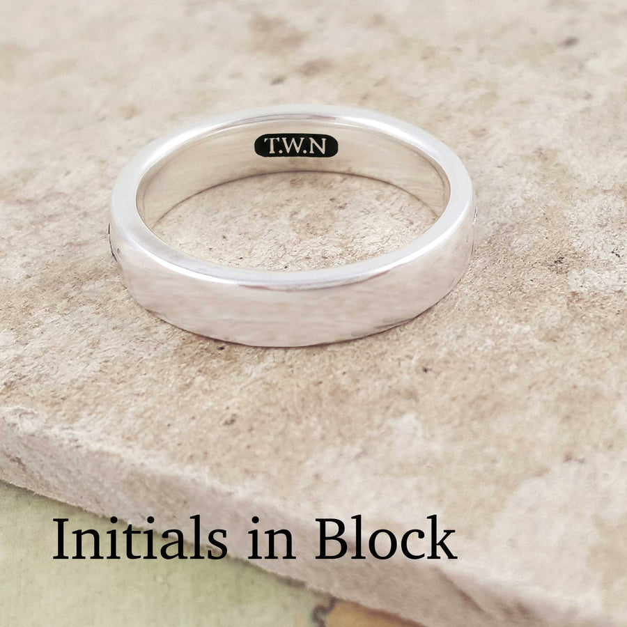 engraving inside ring  initials in block