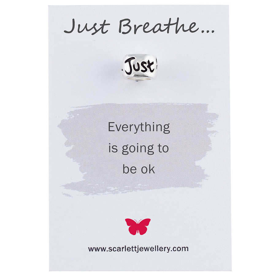 Just Breathe Silver Mindful Charm For Bracelet and Necklace Scarlett Jewellery