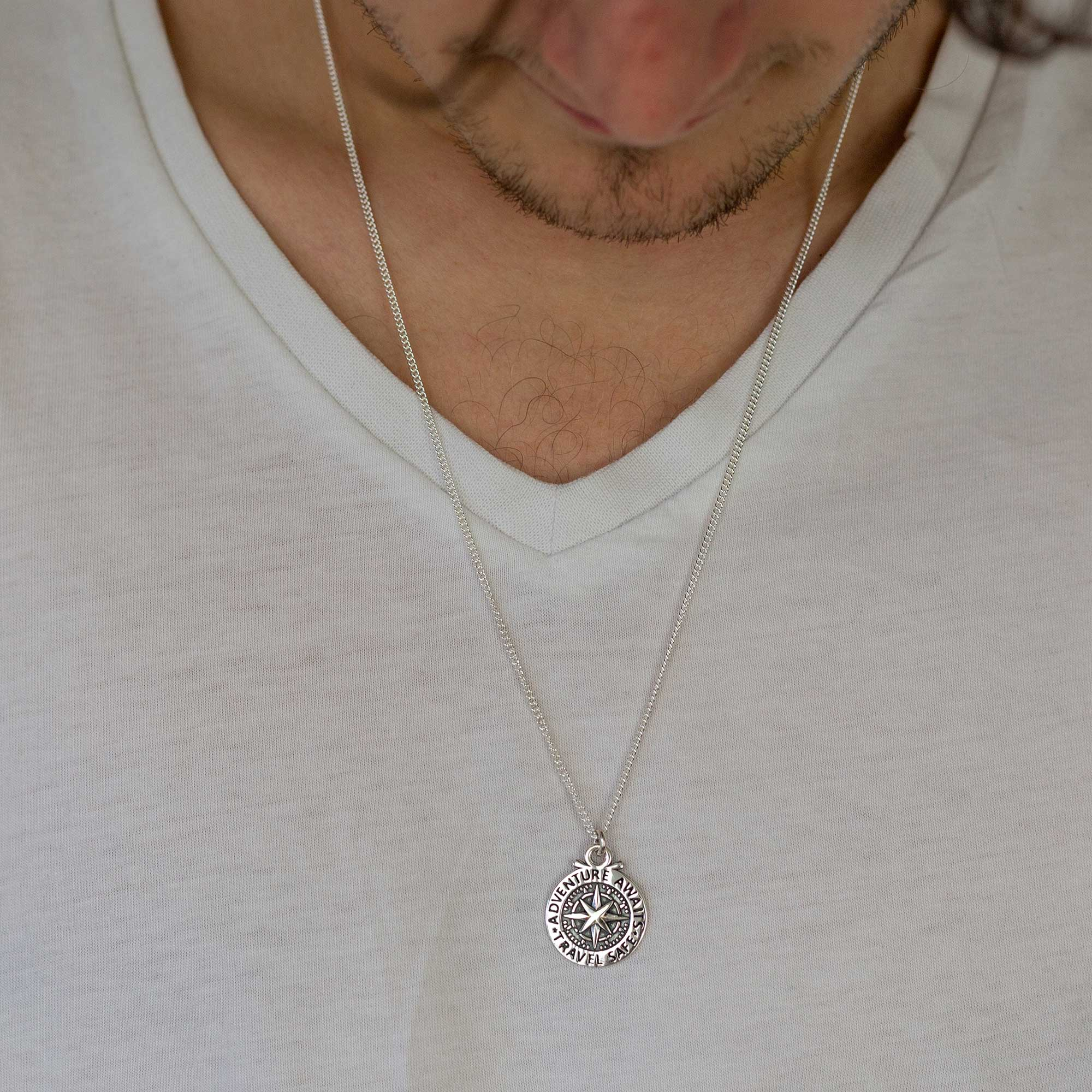 large compass mens necklace travel safe adventure awaits bespoke engraved recycled silver