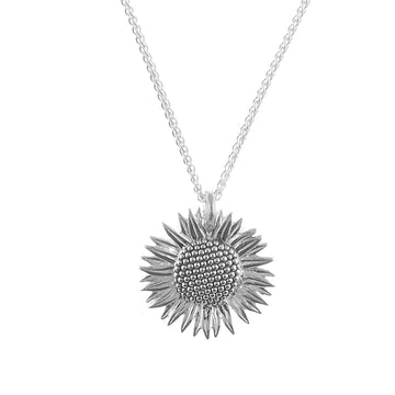 large sterling silver sunflower pendant necklace scarlett jewellery uk